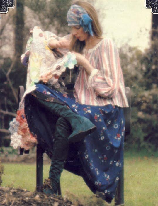 Shirt from Bus Stop. Skirt from Forbidden Fruit. Boots by Biba.
