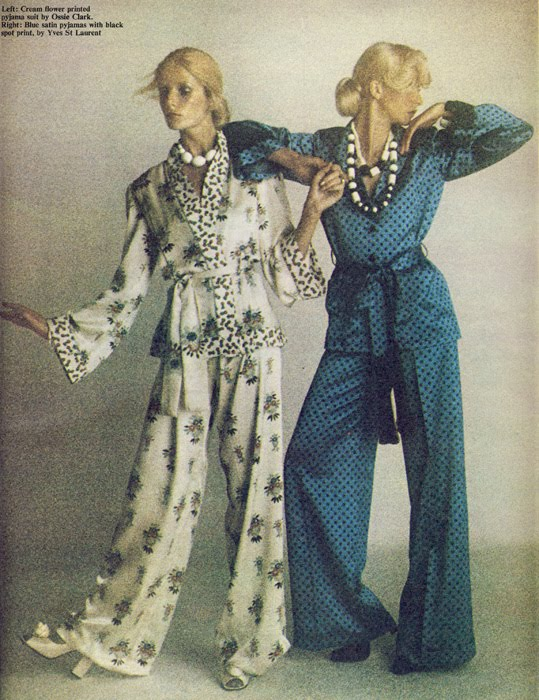 Left: Ossie Clark, Right: Yves Saint Laurent