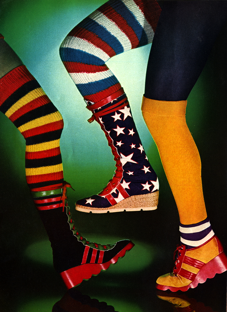 All footwear by Moya Bowler. Tights by Mary Quant. Socks by Mary Quant and Mr Freedom