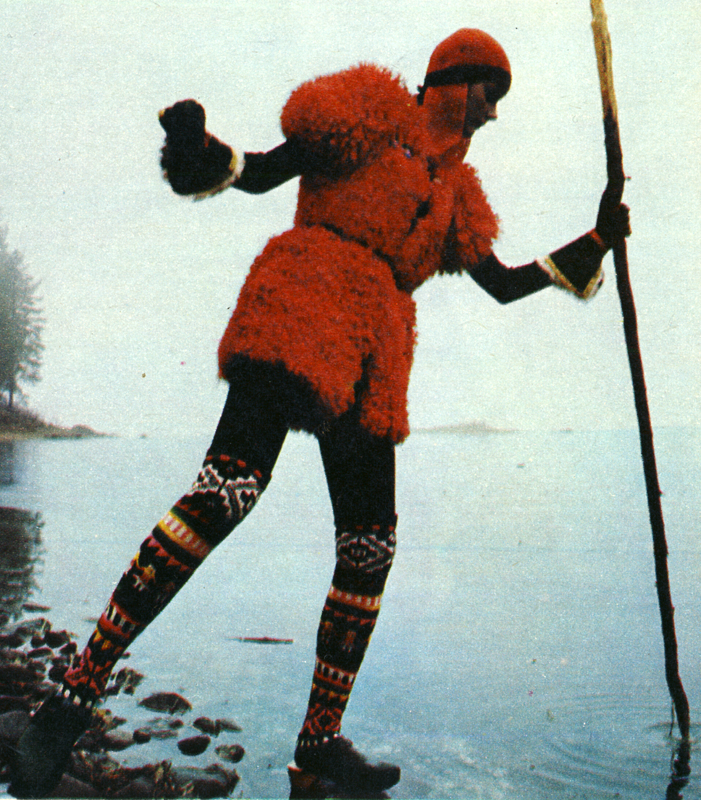 Fake fur jerkin by Jap, worn with combinations by Yves Saint Laurent and Peruvian socks from Inca