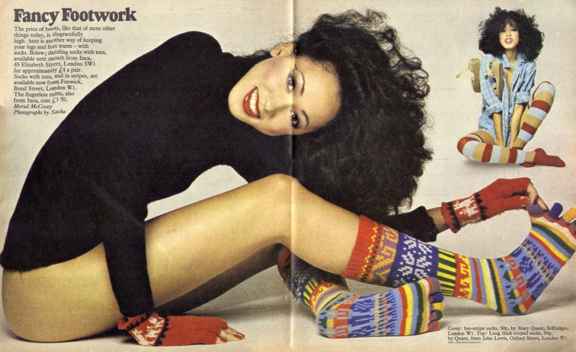 Dazzling sock with toes from Inca, 45 Elizabeth Street, London SW1 for approximately £4 a pair ... The fingerless mitts, also from Inca, cost £1.50