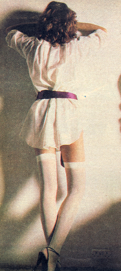 Snow white stockings by Mary Quant. Patent shoes by Sacha. Silk shirt by Betty Jackson for Quorum.