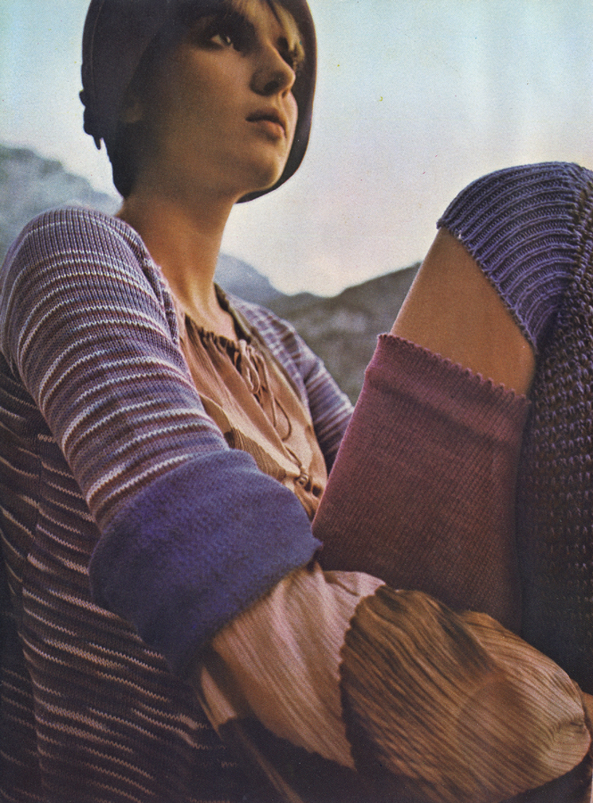 Cotton knit jacket and pink gauchos by Rosalind Yehuda. Feather print blouse by Jeff Banks. Felt cloche at Biba. Over the knee socks by Mary Quant.