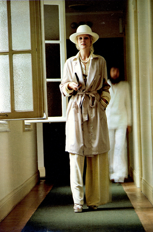 Dressing gown from Austin Reed. Silk blouse and baggy pants by Katherine Hamnett for Tuttabankem. Cobweb shoes at Chelsea Cobbler.