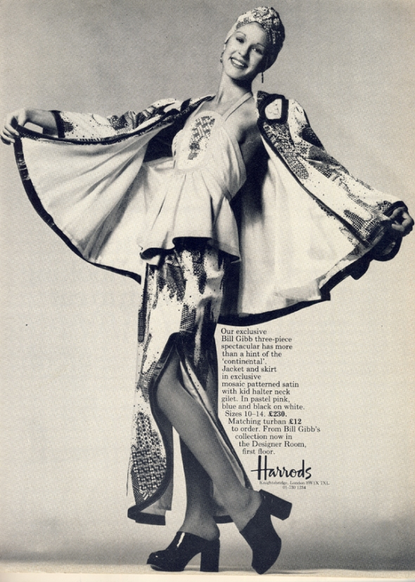 bill gibb harrods advert vogue march 1973