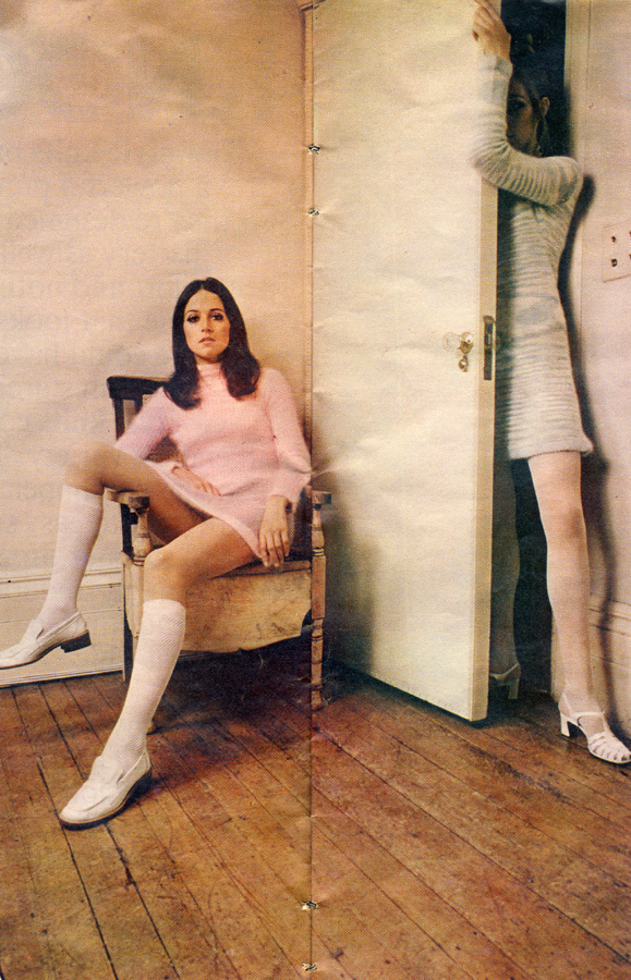 Knockout Knits Roger Stowell Petticoat March 29th 1969 Angora dress from Mary Farrin Boutique 67 South Molton Street Shoes from Russell and Bromley Two tone angora dress by Jandy Lesser Sandals Ravel