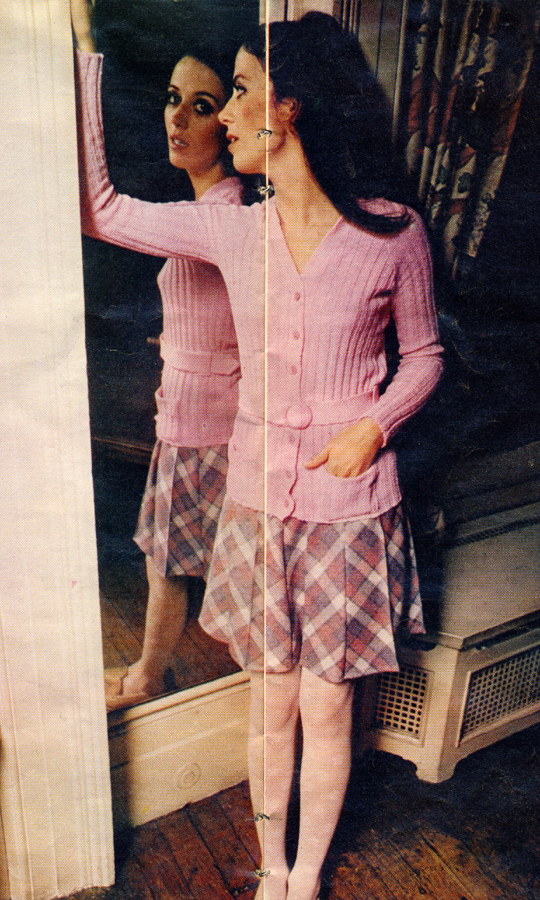Cardigan with belt by Biba. Check wool skirt from Richard Shops.