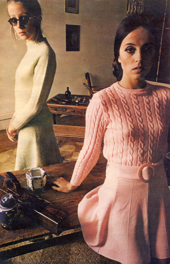 Knockout Knits Roger Stowell Petticoat March 29th 1969 Sweater and skirt by McCaul from Way In, SW1  Ribbed sweater and skirt by Bobby Cousins
