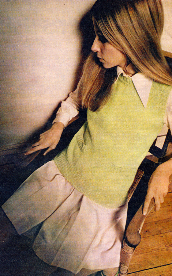 Apple green knitted waistcoat by Sharcleod, from Girl, Kings Road. Cream shirt and skirt by Ivor Wahl.