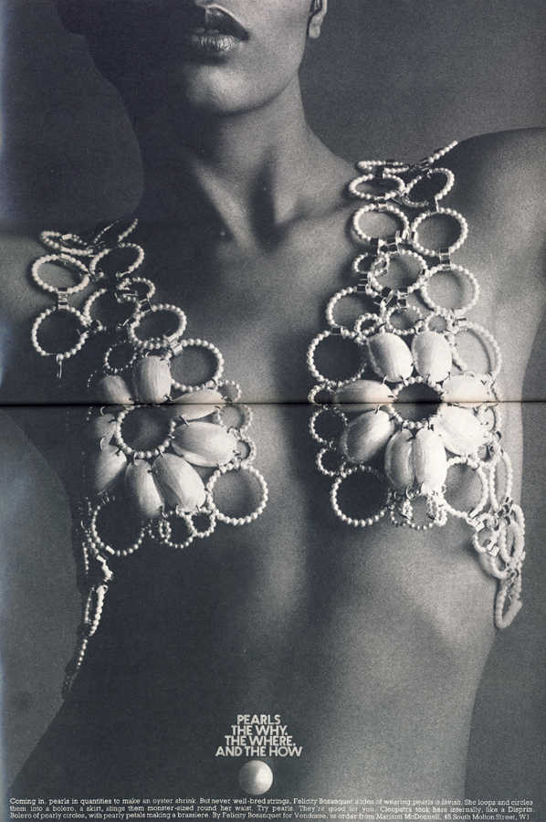 Bolero of pearly circles, with pearly petals making a brassiere. By Felicity Bosanquet for Vendome, to order from Marian McDonnell, 45 South Molton Street, W1