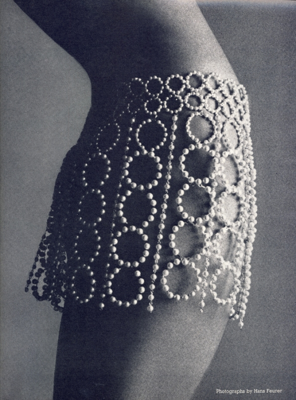 Skirted in pearls (You could slip a body-stocking on underneath, if you think it necessary). Swinging big and little circles, separate strings, by Felicity Bosanquet, to order from Marrian McDonnell.
