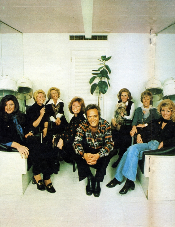 At the Cadogan Club: (from left to right) Ariana Stassinopolos, Rachel Roberts, Moira Lister, Patricia Millbourn and Aldo Bigozzi (partners), Katie Boyle, Joan Benham and Annette Andre.