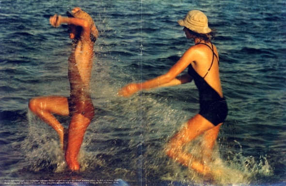 Swimsuits by Wiki at Bellino. Denim hat at Herbert Johnson. Beige coton hat by Edward Mann.