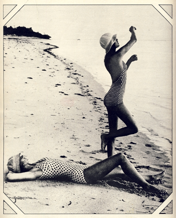 Swimsuits from Dorothy Perkins. White hat by Edward Mann. Sailing hat from Herbert Johnson.