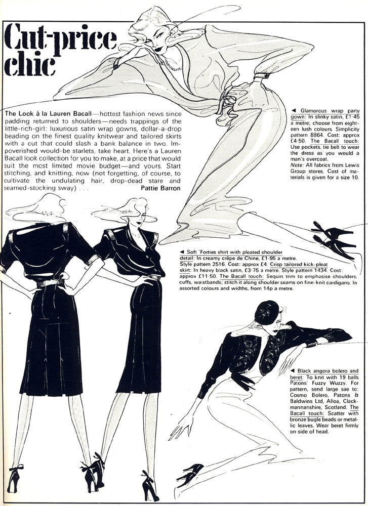 Cut-price chic illustrated by Anne Delaney Cosmo  April 1979