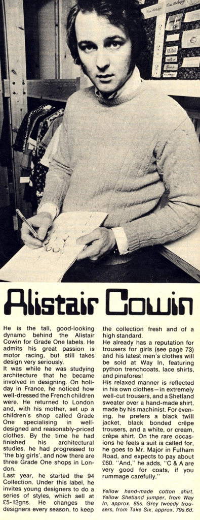 Alistair Cowin photographed by John Carter for 19 Magazine, April 1969