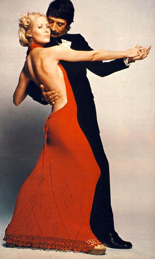 Red wool boucle dress by Carolyn Brunn, 287 Brompton Road