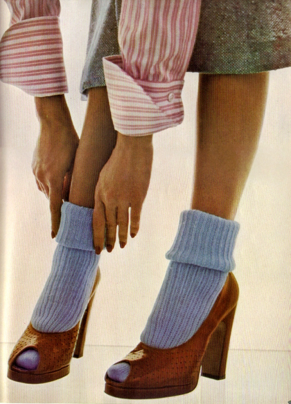 Chalk blue socks by Mary Quant. Cherry leather platform shoes by Manolo Blahnik for Zapata.