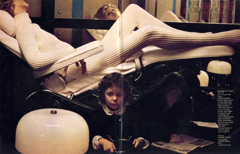 White ribbed catsuit by Sally Levison. Brass belt from David Elliott. Ring by Kutchinsky.