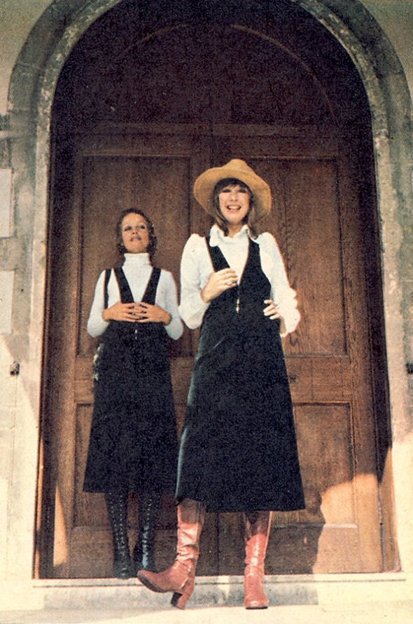 Left: Velvet gaucho pinafore from Bus Stop. Jumper by John Craig. Right: Velvet pinafore. White cotton blouse. Both by Bus Stop.