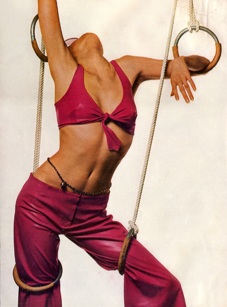 Cleverly-cut bra top, just tied in a knot in burning hot pink, with loose low trousers of the ame. By Georgina Linhart, 91/2 gns, at Just Looking.