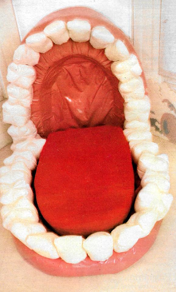 A false teeth sofa, with a soft and life-like tongue for some idle lounging.