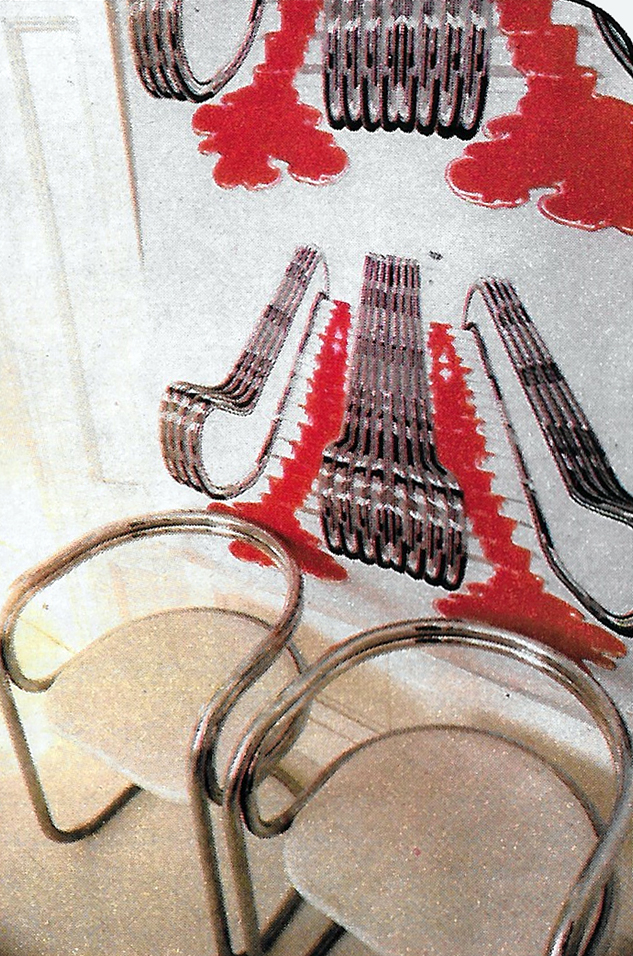An unusual escalator roller blind, which has been silk-screen printed in red and black, on cotton.