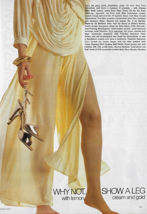 Why not... show a leg with lemon, cream and gold: Hurel jersey top and culottes by Bill Gibb. Shoes by Bally.