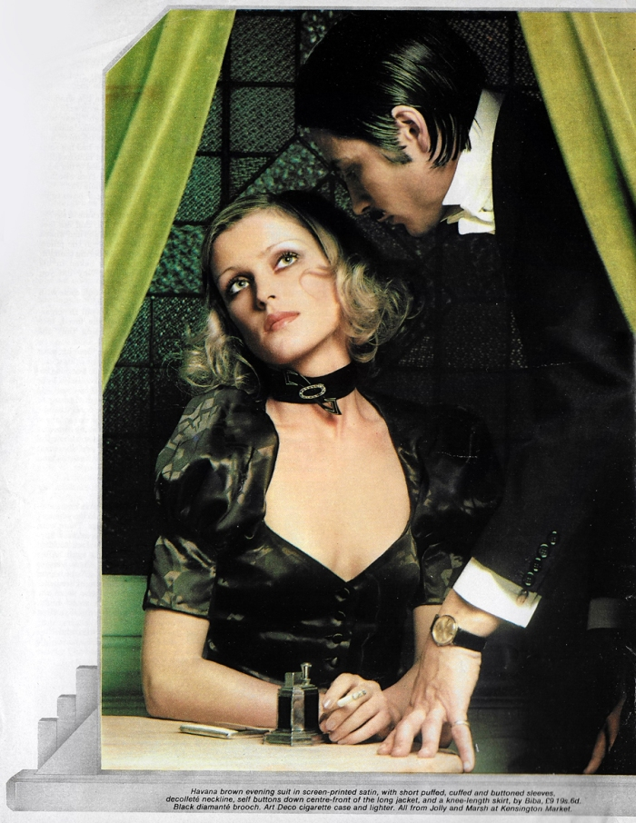 David Tack, Biba screen-printed satin evening suit in 19 magazine, January 1971