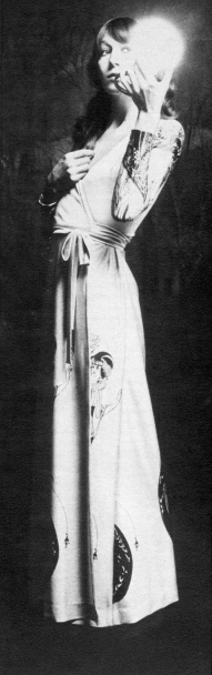 Beardsley print slinky dressing gown by Georgina Linhart.