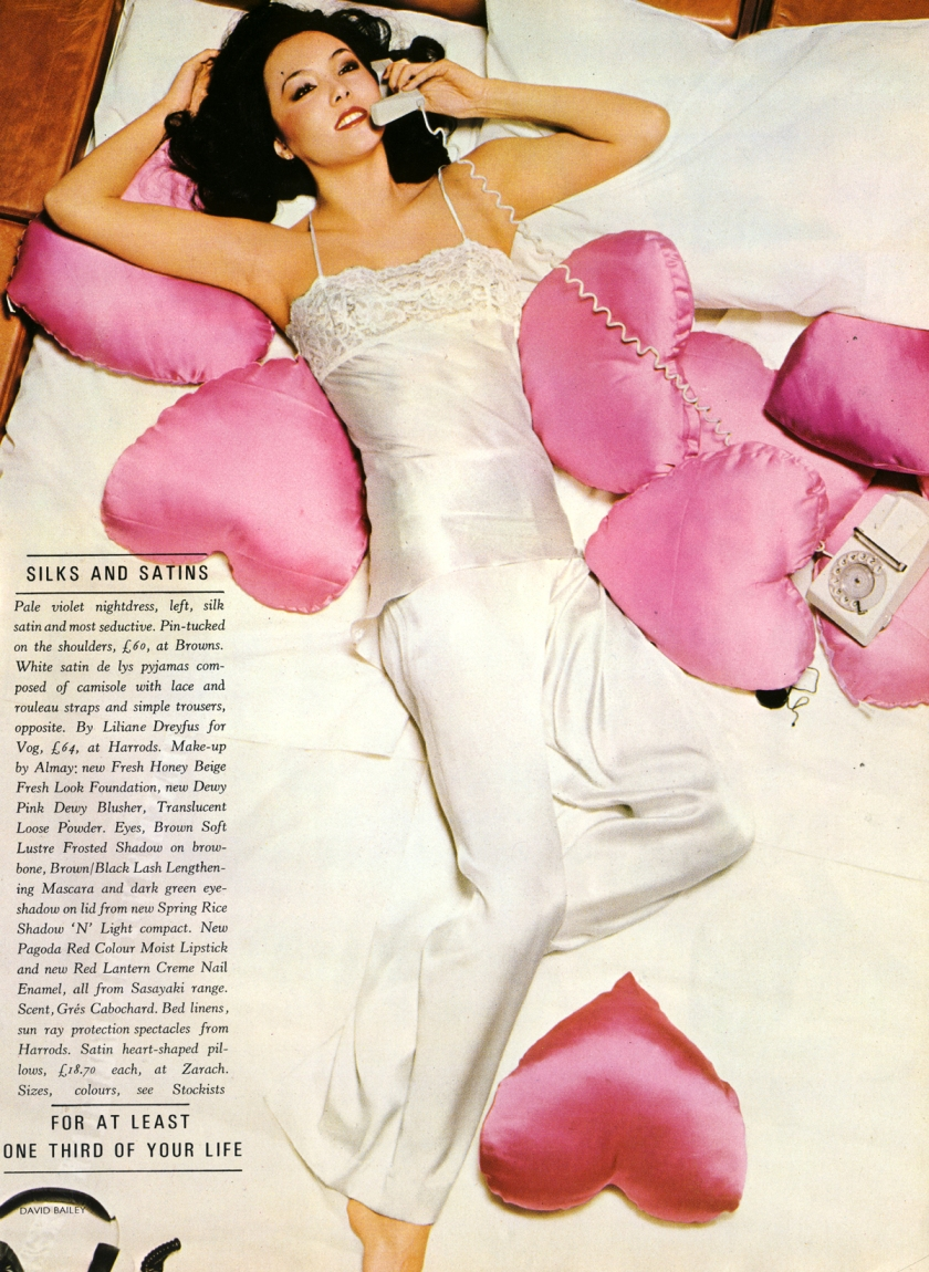 silks and satins - bailey - vogue july 74 2