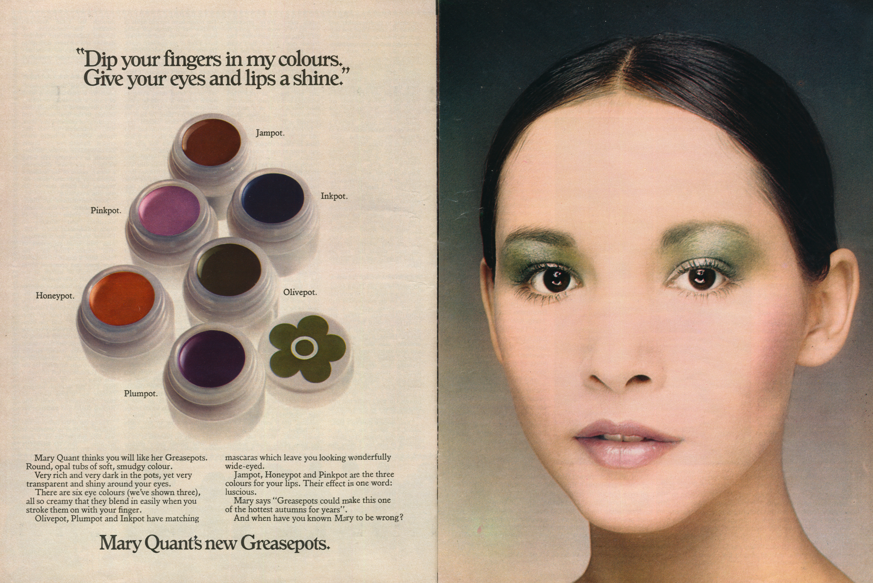 Advert for Mary Quant greasepot cosmetics.
